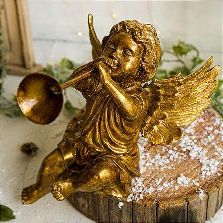 Anjinho Gold Sentado com Trombeta