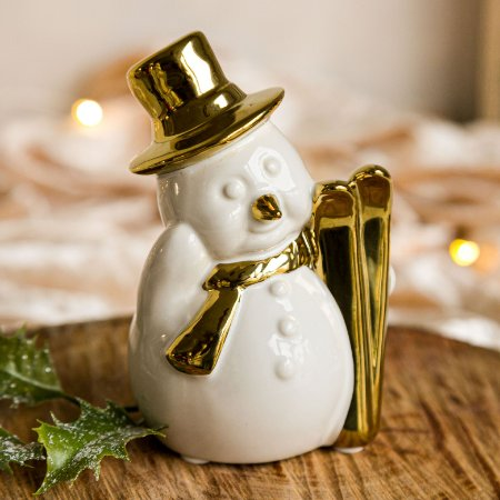 Boneco de Neve com Esqui em Cerâmica (P)