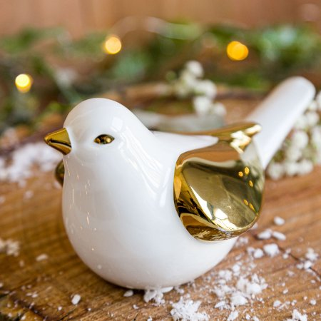 Pássaro Branco Gold em Cerâmica