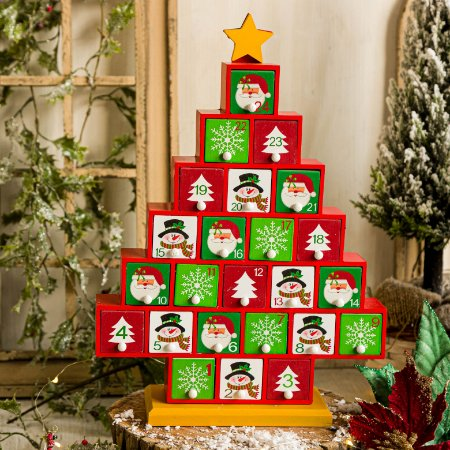 Calendário de Natal  Pinheiro Vermelho