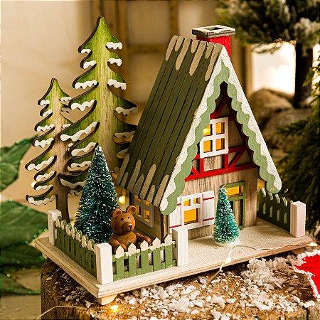 Casinha Verde com Árvore de Natal (P)
