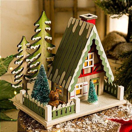 Casinha Verde com Árvore de Natal (G)