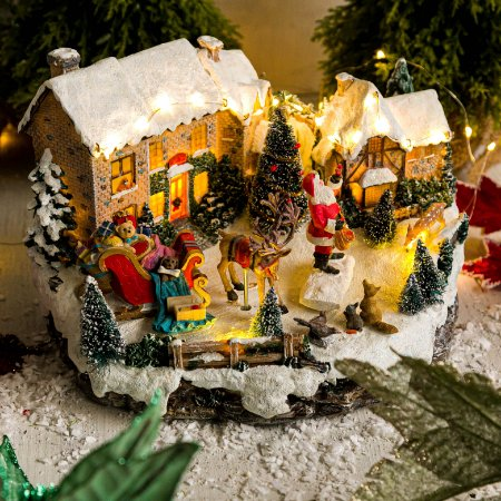 Vila de Natal Papai Noel com Presentes