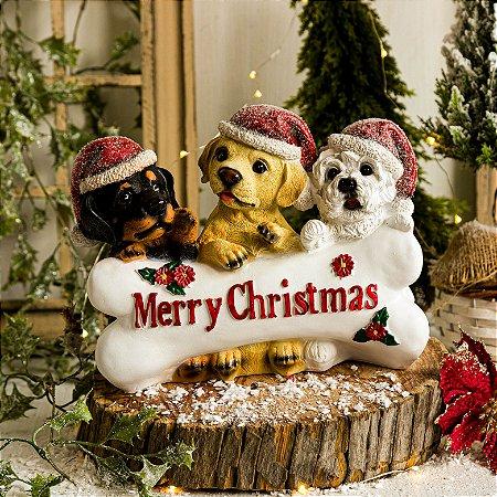 Cachorrinhos com Osso Desejando Feliz Natal