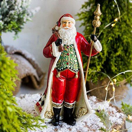 Papai Noel com Presentes e Cajado Gold