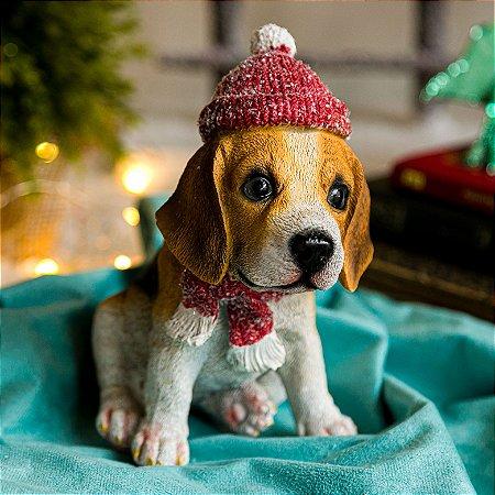 Cachorrinho Beagle com Gorro de Natal