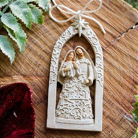 Enfeite Sagrada Família Renda Branca