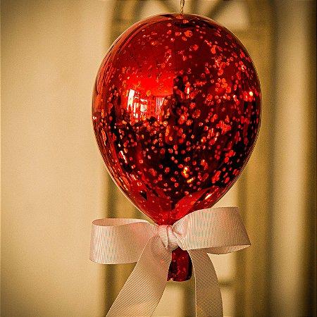 Luminaria Balão Craquelê Vermelho (M)