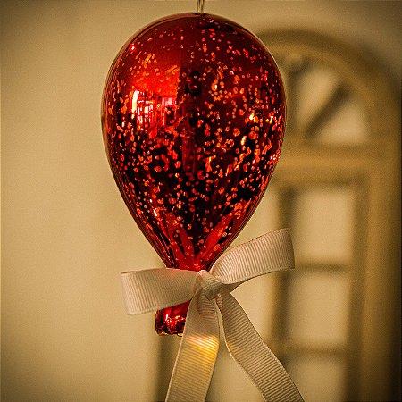 Luminaria Balão Craquelê Vermelho (P)