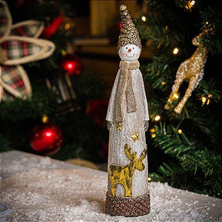 Boneco de Neve com Rena Dourada