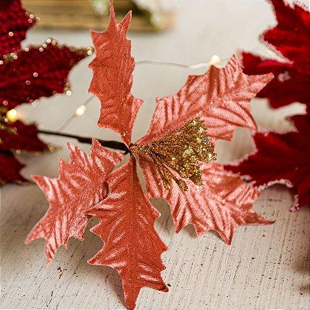 Flor de Natal Poinsetia Decorativa Rosé e Dourado
