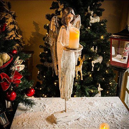 Anjo da Paz com Castiçal e Base