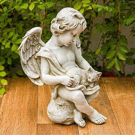 Anjo Sentado com Gatinho Garden