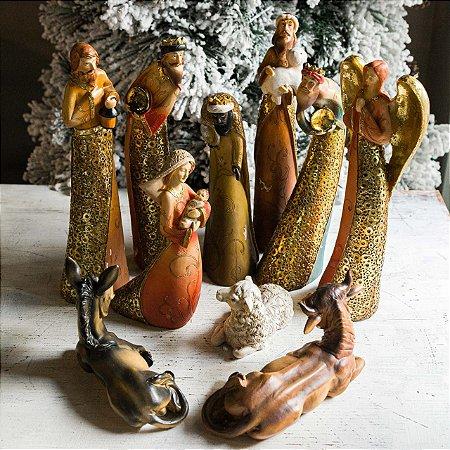 Presépio Italiano Dourado 10 peças