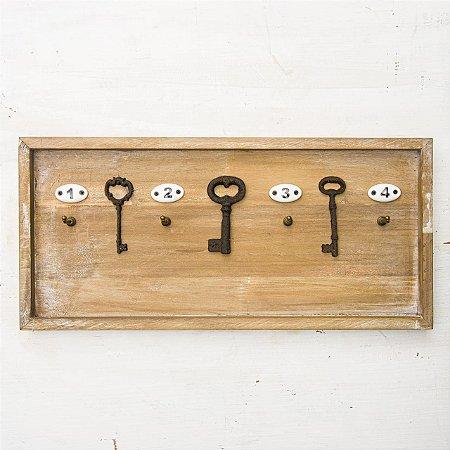 Porta Chaves de Madeira Rustico com 4 Ganchos