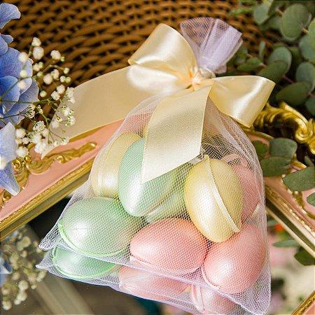 Saquinho com Mini Ovos de Pascoa Coloridos - 9 unidades