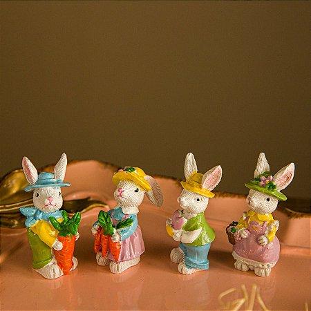 Mini Quarteto de Coelhos Camponeses - 4 peças