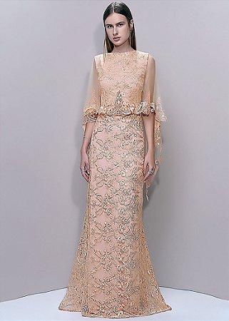 Vestido Longo de Renda Arte Sacra Coutture - Dourado