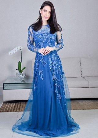 Vestido Longo de Tule e Renda Arte Sacra Coutture - Azul