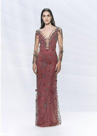 Vestido Longo de Tule Bordado Arte Sacra Coutture - Vermelho Goiaba