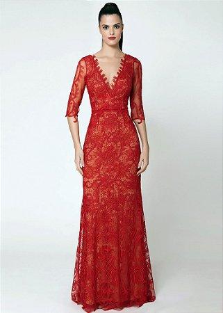 9cbb6567ac Vestido Longo de Renda e Tule Cosh - Vermelho Rubi