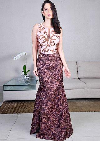Vestido Longo de Zibeline Bordado M.Rodarte - Rosa