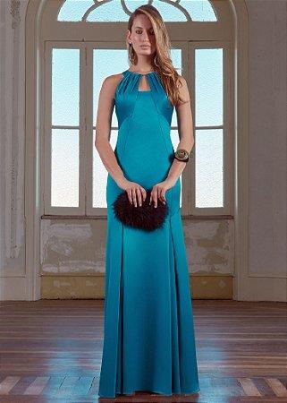 Vestido Longo de Cetim Patchoulee - Azul Petróleo