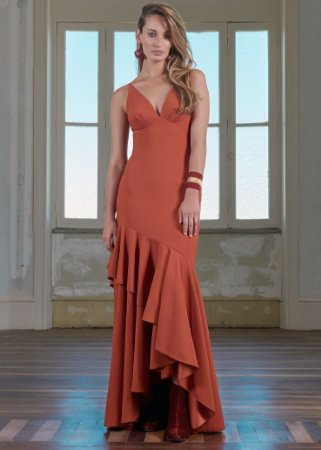 Vestido Longo de Cetim Patchoulee - Vermelho Tijolo