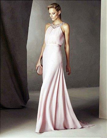 Vestido Longo de Musseline Pronovias - Rosa