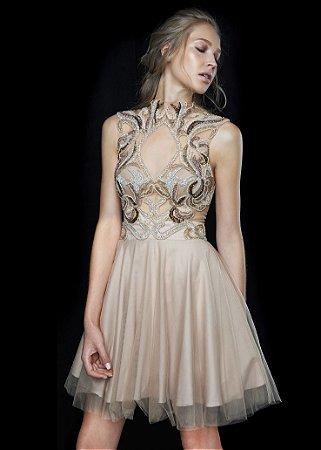 Vestido Curto Bordado Ellizabeth Marques - Nude