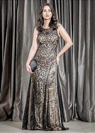 Vestido Longo de Renda e Cetim Rosa Clará - Preto e Dourado