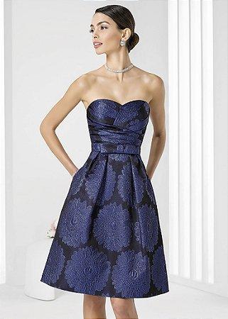 Vestido de Brocado Rosa Clará - Azul