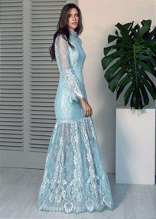 Vestido Longo de Renda Desfiada Unity Seven - Azul Claro