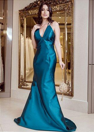 Vestido Longo de Zibeline M.Rodarte - Verde Escuro