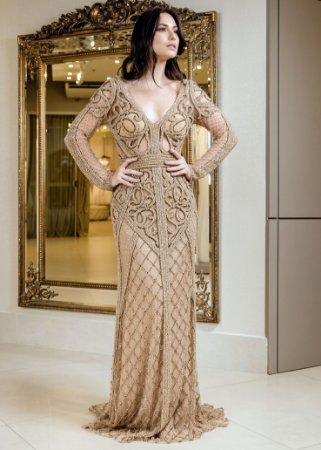 Vestido Longo de Tule Bordado Thays Temponi - Dourado