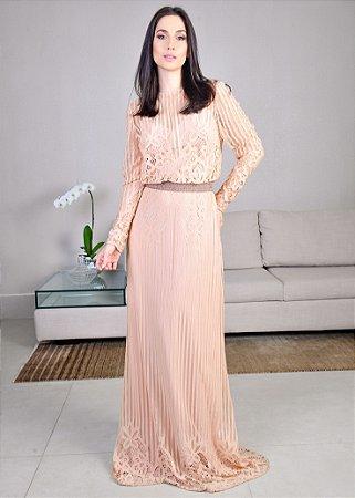 Vestido Longo de Tule com Renda Arte Sacra Coutture - Rosa Champagne