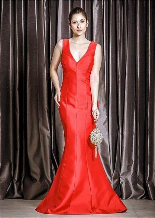 Vestido Longo de Mikado Arte Sacra Coutture - Vermelho