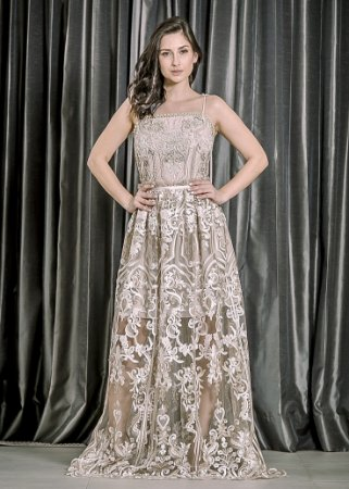 Vestido de Tule Bordado LN Brand - Dourado
