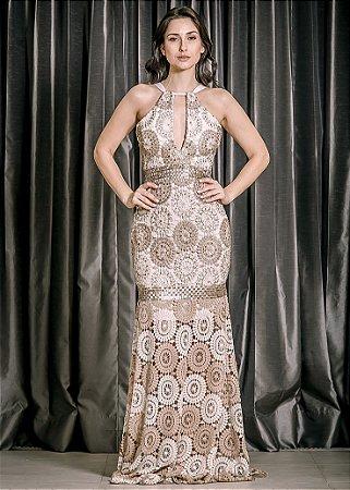 Vestido Longo de Renda Bordada UH Premium - Nude e Dourado