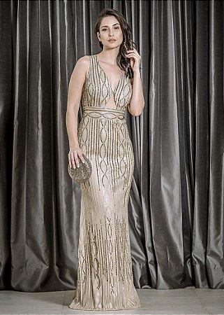 Vestido Longo de Tule Bordado M.Rodarte - Dourado
