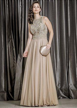 Vestido Longo com Bordado Ellizabeth Marques - Dourado