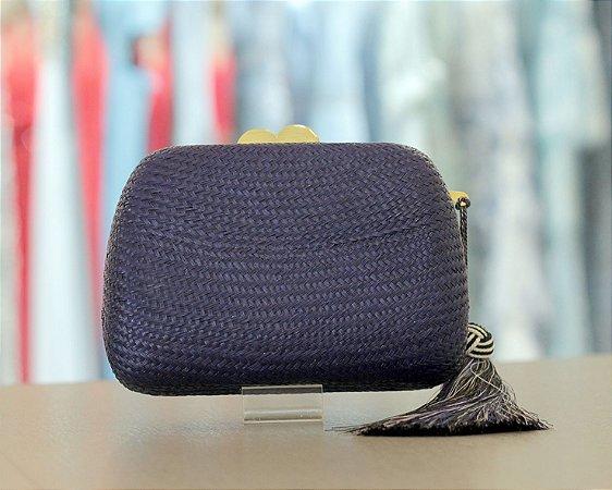 Clutch de Ráfia com Tassel Isla Bolsas - Azul