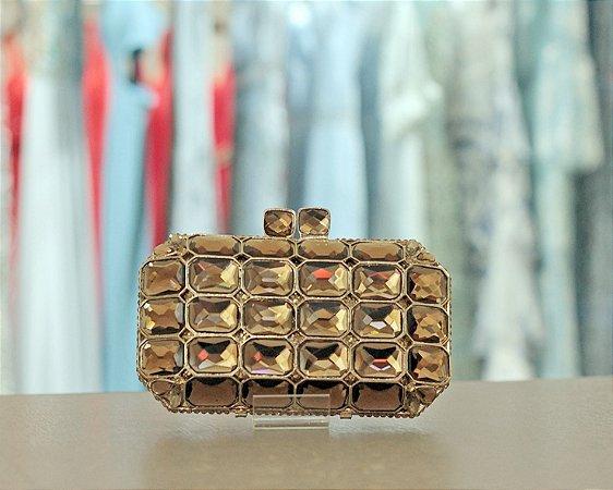 Clutch de Metal com Cristais Moss Bolsas - Dourada