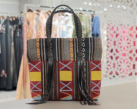 Maxi Bolsa Patchwork Tecido com Franjas Isla Bolsas - Étnico