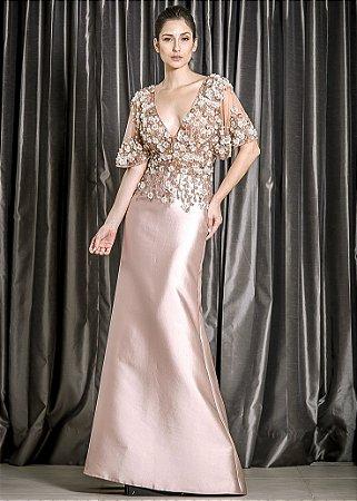 Vestido Longo de Cetim com Corpo Bordado Thays Temponi - Rosa