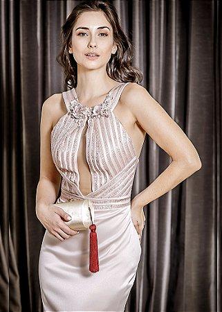 Vestido Longo de Cetim com Decote Bordado Thays Temponi - Rosa