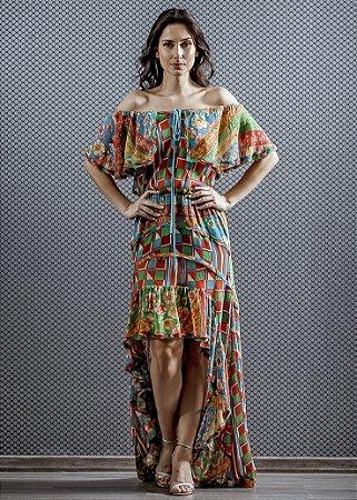 Vestido Longo de Seda Estampado UH Premium