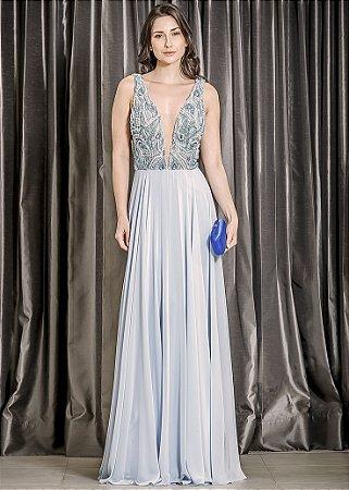 Vestido Longo com Corpete Bordado Ellizabeth Marques - Azul
