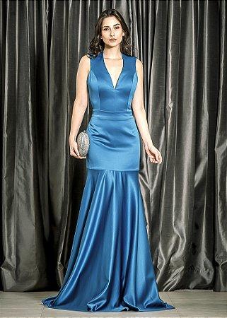 Vestido Longo de Mikado Arte Sacra Coutture - Azul