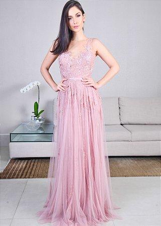 Vestido Longo de Tule com Renda Chantilly Pronovias - Rosa